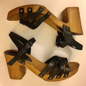 Topshop Size 8 Strappy Wood Wedges